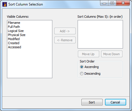 Multi Column Select Window