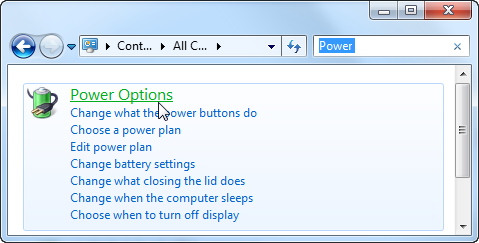 Control Panel Power Options