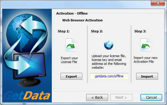 Button to export and save the license file quot getdata gdactrequest